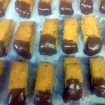 Brown Sugar Chocolate Dipped Oat Biscotti!